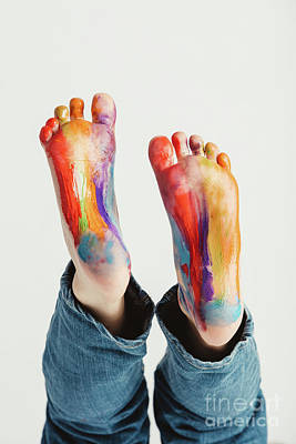 Photograph - Kid's Feet Painted In Rainbow Colors. by Michal Bednarek