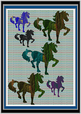 Mixed Media - Kids Fun Gallery Horse Prancing Art Made Of Jungle Green Wild Colors by Navin Joshi
