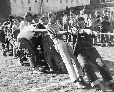 High School Sports Photograph - Kids Have Tug Of War Battle by Underwood Archives