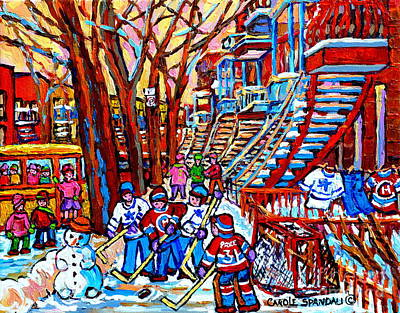Of Verdun Montreal Winter Street Scenes Montreal Art Carole Painting - Kids Hockey Fun Off Rue Wellington Red Winding Staircase Verdun Memories Yellow School Bus   by Carole Spandau