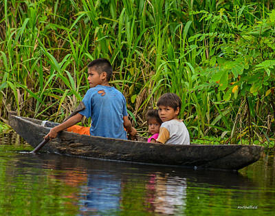 Photograph - Kids In A Boat by Allen Sheffield