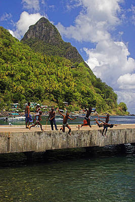 Photograph - Kids Jumping- St Lucia by Chester Williams