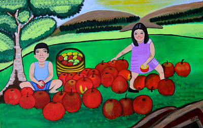 Kids Playing And Picking Apples Art Print by Lorna Maza