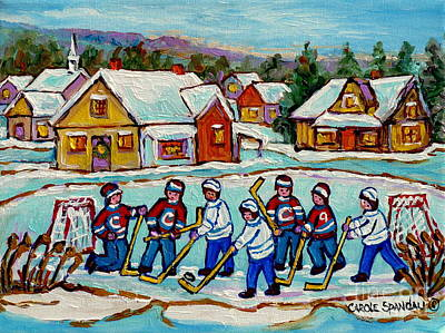 Painting - Kids Playing Hockey On Frozen Pond Cozy Country Village Scene Canadian Landscape Painting C Spandau  by Carole Spandau