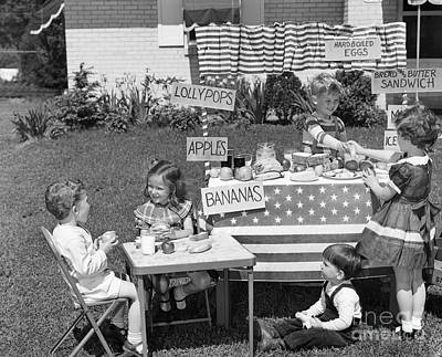 Folding Chair Photograph - Kids Setting Up Shop, C.1950s by H. Armstrong Roberts/ClassicStock