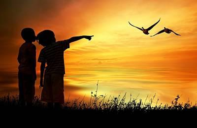 Photograph - Kids Slihouette by Jeff S PhotoArt