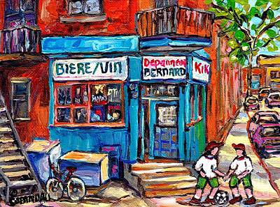 Painting - Kids Soccer Paintings Fun Game At Depanneur Bernard Montreal Corner Store Best Canadian Paintings by Carole Spandau