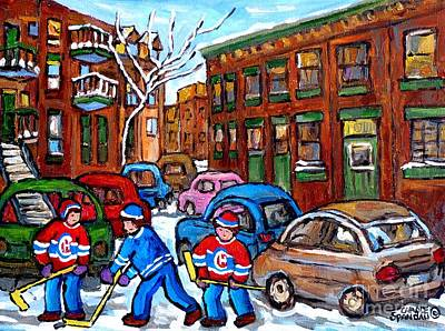 Painting - Kids Street Hockey Game Psc Verdun Montreal Art Winter Scene Painting C Spandau Canadian Artist      by Carole Spandau