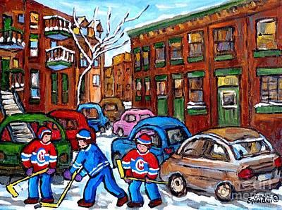 Painting - Kids Street Hockey Game Psc Verdun Montreal Art Winter Scene Painting C Spandau Canadian Artist      by Carole Spandau