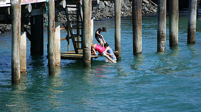 Photograph - Kids Swimming At The Harbour by Gary Crockett