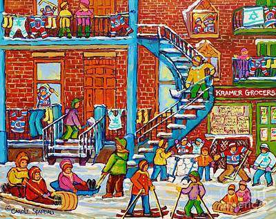 Of Verdun Montreal Winter Street Scenes Montreal Art Carole Painting - Kids Winter Playground Kramer's Grocer Street Scene Toboggan Skiiers Hockey Art Canadian Paintings   by Carole Spandau