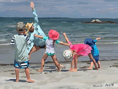 Painting - Kid's Yoga Class On Wingaersheek Beach by Melissa Abbott