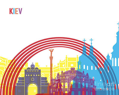 Kiev Skyline Pop Art Print by Pablo Romero