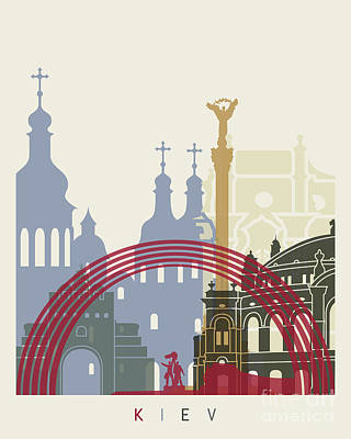 Kiev Wall Art - Painting - Kiev Skyline Poster by Pablo Romero