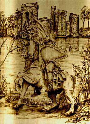 Knights Castle Drawing - Kight And Steed Heading Home by Karen Cortese