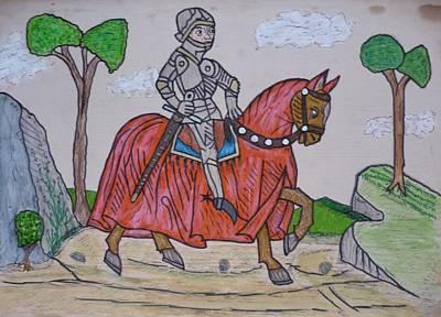 Blasoning Drawing - Kight On A Horse by Alexander Snehotta von Kimratshofen