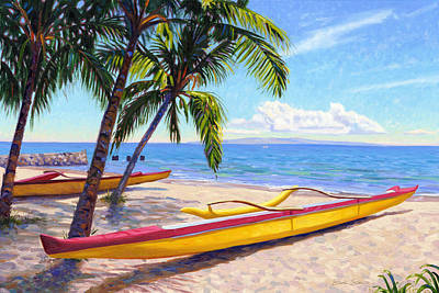 Outrigger Painting - Kihei Canoe Club by Steve Simon