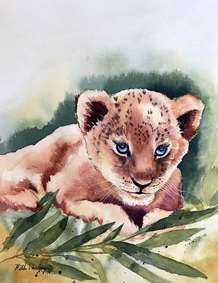 Painting - Kijani The Lion Cub by Hilda Vandergriff