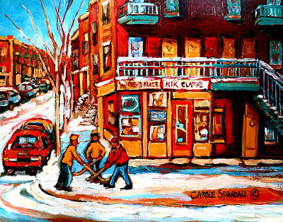 Kids Playing Hockey Painting - Kik Cola Depanneur by Carole Spandau