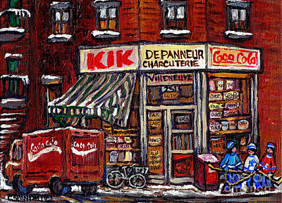Cafes Painting - Kik Cola Depanneur Villeneuve And Jeanne Mance Coca Cola Truck And Street Hockey Montreal Paintings  by Carole Spandau