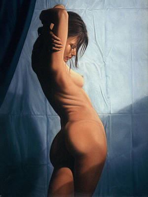 Figure Painting - Kika Blue by Marcel Franquelin