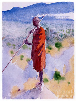 Painting - Kikuyu In A Red Cloak by Celestial Images