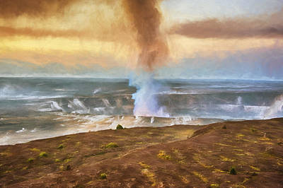 Pele Digital Art - Kilauea At Sunrise by Lynn Andrews