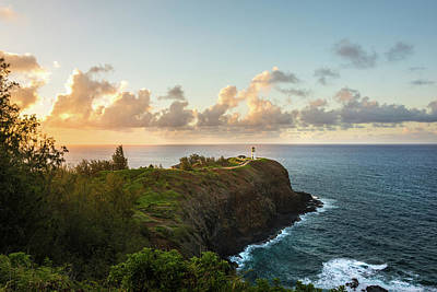 Photograph - Kilauea Light House Seascape At Sunset - Kauai Hawaii by Brian Harig