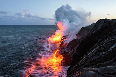 Gray Photograph - Kilauea Volcano Lava Flow Sea Entry 3- The Big Island Hawaii by Brian Harig