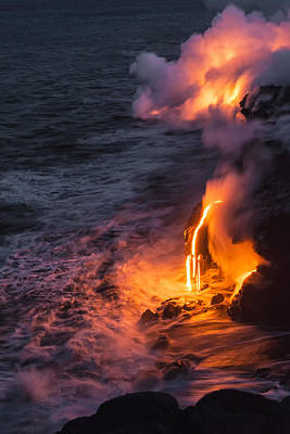 Glowing Photograph - Kilauea Volcano Lava Flow Sea Entry 6 - The Big Island Hawaii by Brian Harig