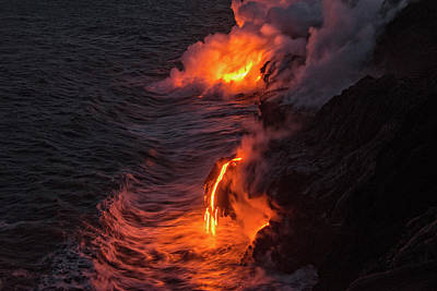 Kilauea Volcano Lava Flow Sea Entry - The Big Island Hawaii Art Print