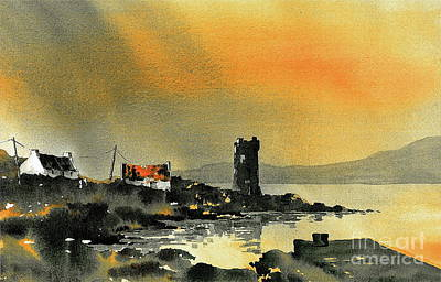 Painting - Kildavnet Sunset, Achill, Mayo by Val Byrne