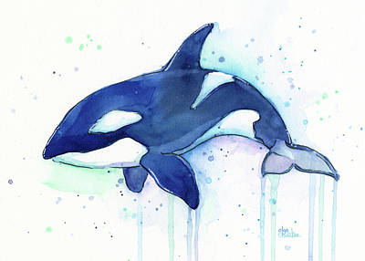 Whimsical Wall Art - Painting - Kiler Whale Watercolor Orca  by Olga Shvartsur