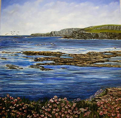 Kilkee Cliffs Ireland Oil Painting Art Print by Avril Brand