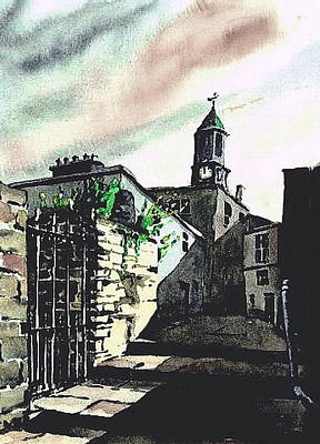 Painting - Kilkenny City  Clocktower Laneway  by Val Byrne