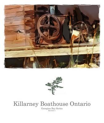 Junk Boat Wall Art - Painting - Killarney  Ontario Boathouse Poster Series by Bob Salo