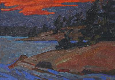 Painting - Killbear Flagged Pines At Sunset by Phil Chadwick