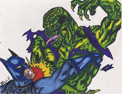 Dc Comics Drawing - Killer Croc Vs Batman by Davis Elliott
