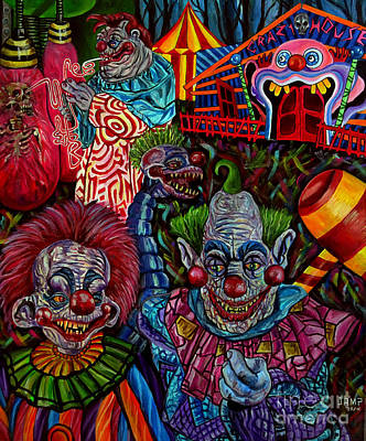 Evil Clown Painting - killer Klowns by Jose Mendez