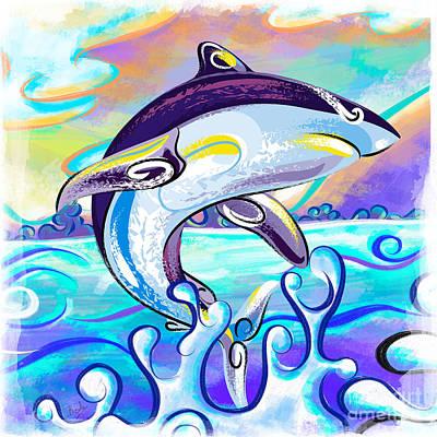 Shark Painting - Killer Shark by Bedros Awak