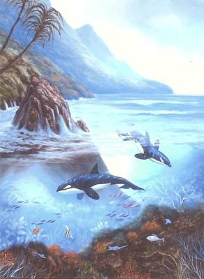 Painting - Killer Whale Family by Susan Elizabeth Wolding