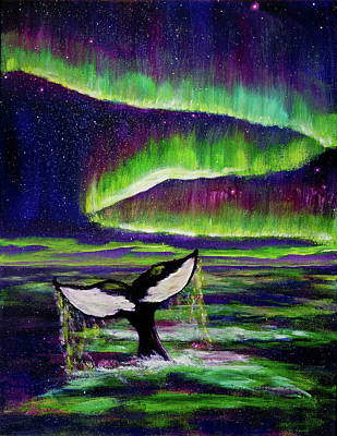 Purple Sea Stars Wall Art - Painting - Killer Whale Tail In Aurora Borealis by Laura Iverson