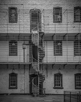 Photograph - Kilmainham Gaol Spiral Stairs  Bw by Teresa Wilson