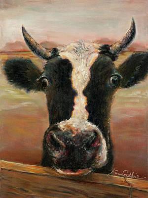 Kim Guthrie Art Oil Painting Bovine Love Original by Kim Guthrie