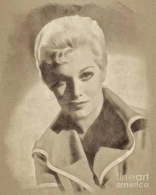 Musicians Drawings - Kim Novak, Vintage Actress by John Springfield by Esoterica Art Agency