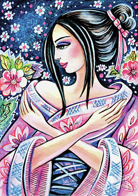 Painting - Kimono Flower by Eva Campbell