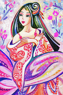 Painting - Kimono Mermaid by Eva Campbell
