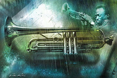 Trumpet Digital Art - Kind Of Blue by Mal Bray