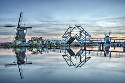 Photograph - Kinderdijk In The Light Blue Hour by Frans Blok