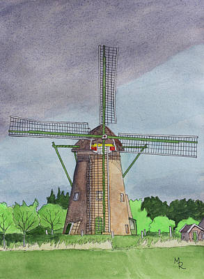 Painting - Kinderdijk Windmill by Mike Robles